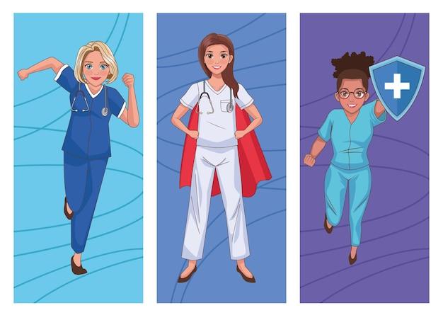 Stafhelden vrouwelijke artsen tekenset