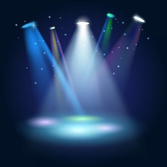 Stage podium scene met voor award ceremony op blauwe achtergrond