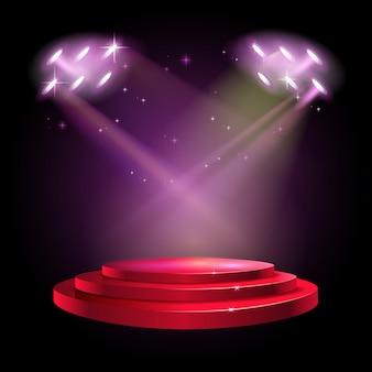 Stage podium scene met voor award ceremony op rode achtergrond