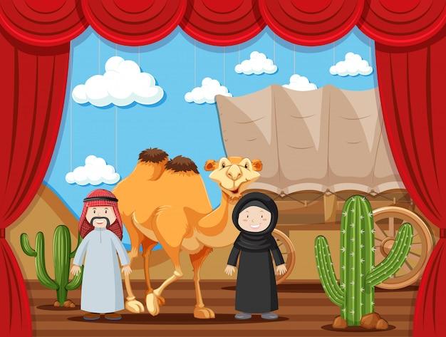 Stage spelen met twee mensen die arabieren spelen in de woestijn
