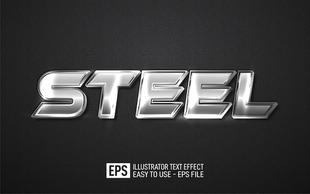 Stalen 3d-tekst bewerkbare stijleffectsjabloon
