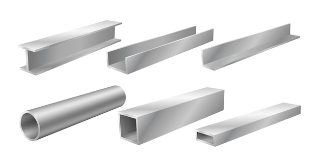 Stalen balken en buizen, realistische structurele producten, set bouwmaterialen voor de ijzer- en staalindustrie, bouwbouw. vector illustratie