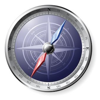 Stalen gedetailleerde kompas geïsoleerd op wit