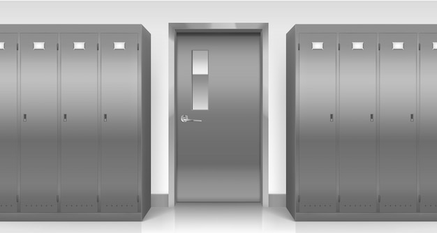 Stalen kluisjes en deur, kasten voor kleedkamers