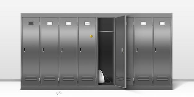 Stalen kluisjes, metalen kleedkamers voor school of gym.