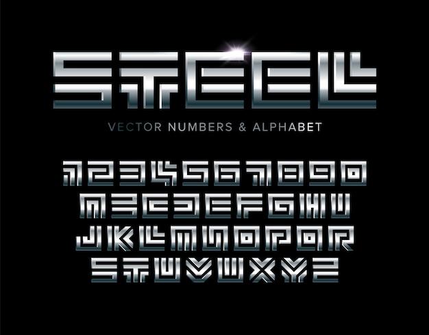 Stalen letters en cijfers ingesteld. gepolijst vierkant doolhof stijl latijns alfabet.