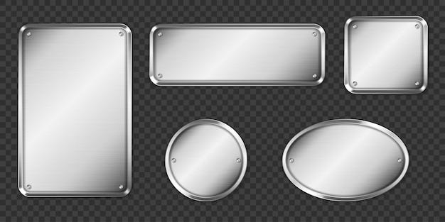Stalen of zilveren platen, lege mockup naamplaatjes.