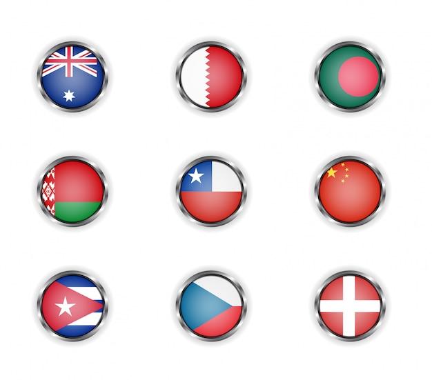 Stalen ronde knoppen met vlaggen van australië, bahrein, bangladesh, wit-rusland, chili, china, cuba, tsjechië en denemarken