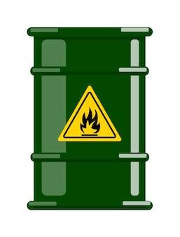 Stalen vat voor ontvlambare chemische vloeistof met waarschuwingsbord
