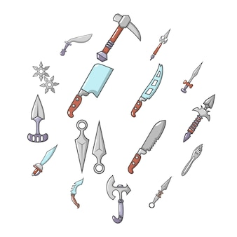Stalen wapens items iconen set, cartoon stijl