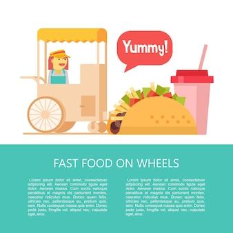 Stall verkoopt taco's en milkshake op straat. fast food. heerlijk eten. vectorillustratie in vlakke stijl. een set van populaire fastfoodgerechten. illustratie met ruimte voor tekst.
