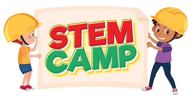 Stam kamp logo en twee kinderen dragen ingenieur hoed geïsoleerd