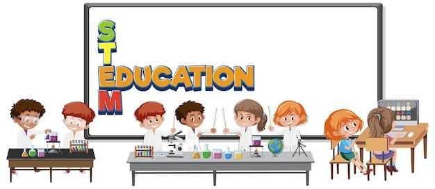Stam onderwijs logo met kinderen die wetenschapper kostuum dragen