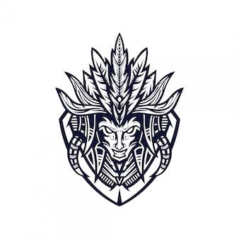 Stam tribal mascotte logo.