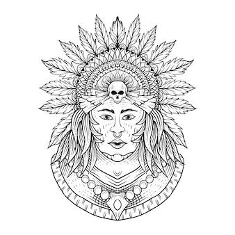 Stammen indische vrouw en bergen