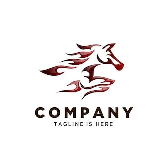 Stammen vuur paard snelheid logo