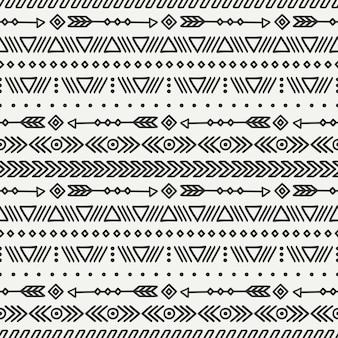 Stammenhand getrokken lijn mexicaans etnisch naadloos patroon.