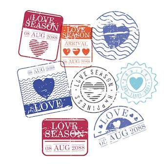 Stamps set van liefde seizoen in kleurrijke silhouet