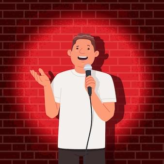 Stand-up comedian optreden. komedie show. een man met een microfoon in zijn handen vertelt grappige verhalen in het openbaar. vectorillustratie in vlakke stijl