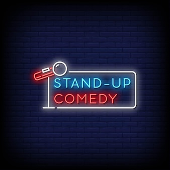 Stand-up comedy neon signs style text