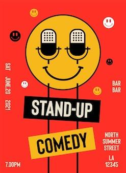 Stand up comedy performance show posterontwerp met plaats voor uw tekst v