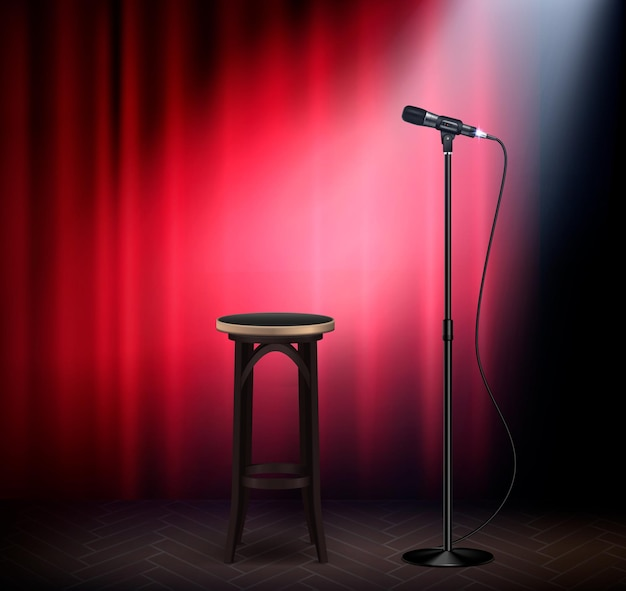Stand-up show comedy stage attributen realistisch beeld met microfoon barkruk rood gordijn retro illustratie