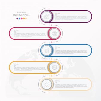 Standaard infographic met pictogrammen bedrijfs.