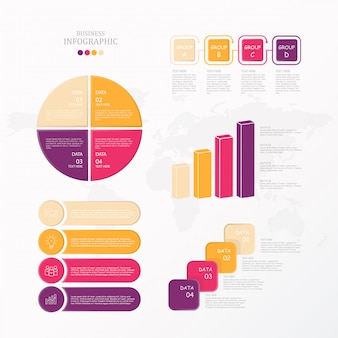 Standaard infographic set en pictogrammen.