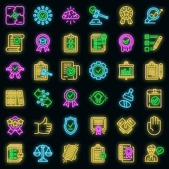 Standaard pictogrammen instellen. overzichtsreeks standaard vectorpictogrammen neonkleur op zwart