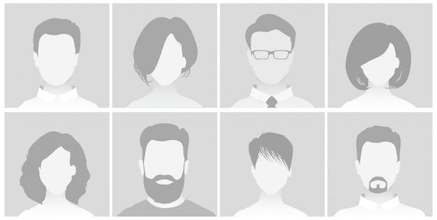 Standaard placeholder avatar-profiel op grijze achtergrond man en vrouw