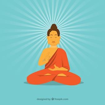 Standbeeld van boeddha in de hand getrokken stijl