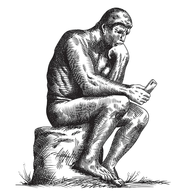 Standbeeld van de beeldhouwer rodin denker met een smartphone in zijn handen.