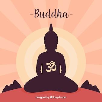 Standbeeld van het silhouet van boedha