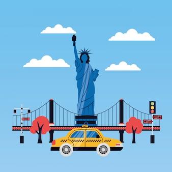 Standbeeld van vrijheid stad wolkenkrabber