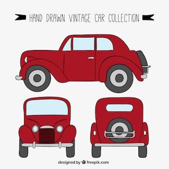 Standpunten van de hand getekende vintage auto