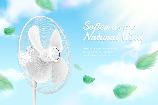 Standventilator die de lucht op blauwe hemelachtergrond in 3d illustratie beweegt, groene bladeren die in de lucht blazen