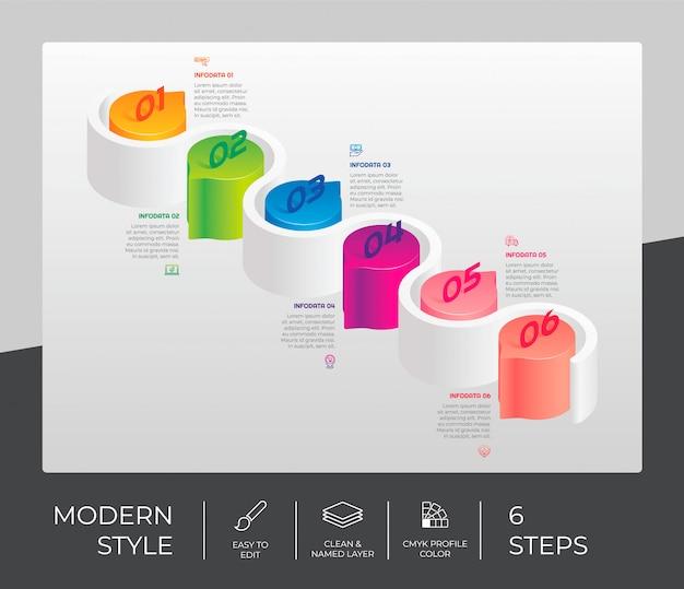 Stap infographic met 6 opties en 3d-stijl