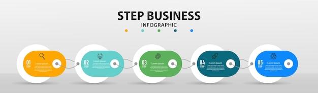 Stap infographic ontwerp presentatiesjabloon met 5 opties