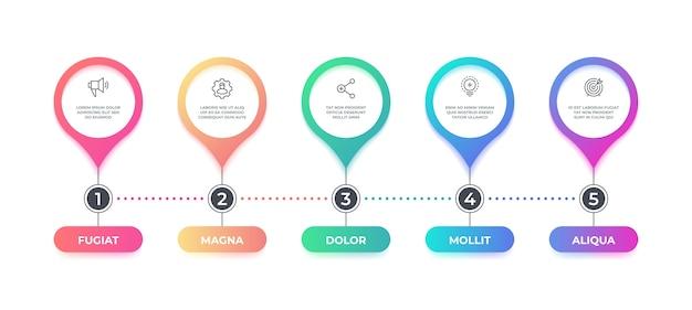 Stap infographic. opties tijdlijn stroomschema, zakelijk grafisch element, workflow layout infographic diagram. stap grafische banner concept