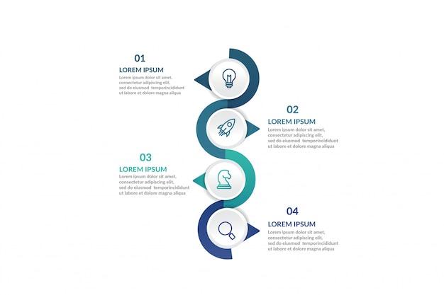 Stap infographic sjabloon voor presentatie