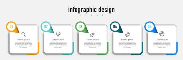 Stap infographic workflow grafiek nummer infographic proces stappendiagram met lijn pictogrammen informatie concept illustratie van stap informatie grafiek en infographic