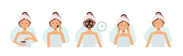 Stap van kleimaskers, vrouwengezichten met gezichtsbehandelingen. gezicht huidverzorging. alginaat maskers. platte cartoon karakter illustratie