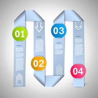 Stap voor stap infographic sjabloon met 4 punten