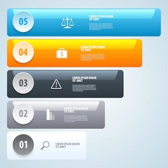 Stap voor stap infographics. lijst met opties. .