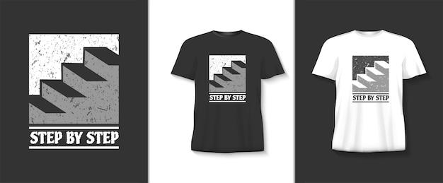 Stap voor stap typografiet-shirt