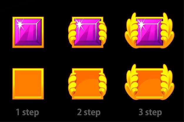 Stap voor stap verbetering van vierkante edelsteen en gouden sjabloon. set van heldere paarse diamanten vooruitgang.