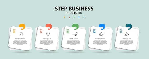Stap zakelijke infographic ontwerp presentatiesjabloon