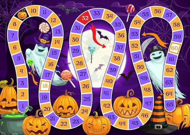 Stapbordspel voor kinderen met halloween-monstervector