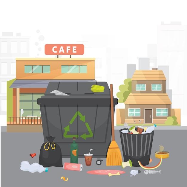 Stapel afval. huisvuil op stadsachtergrond. geïsoleerde illustratie.
