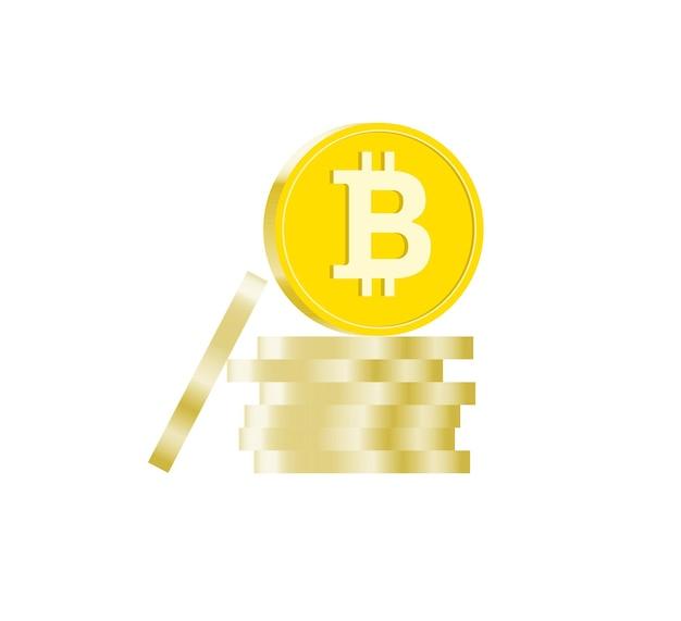 Stapel bitcoins cryptocurrency-munten